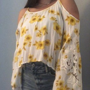 off the shoulder bell sleeve top with flowers